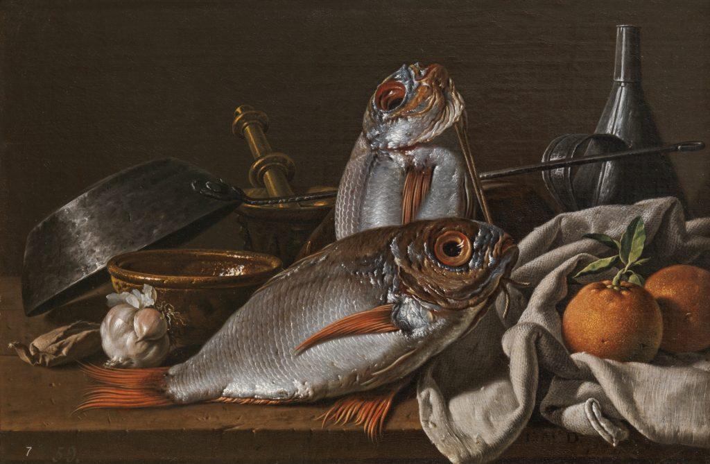 Still-life with Sea Bream and Oranges par Luis Meléndez, 1772 (Madrid, Museo Nacional del Prado)