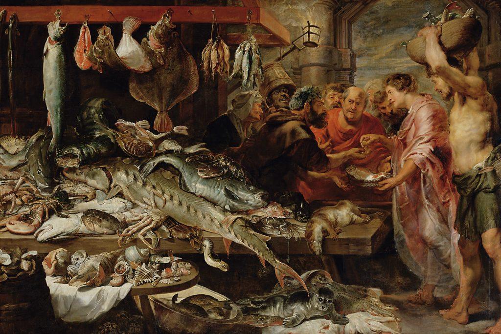 he Fish Market par Frans Snyders et Antoine van Dyck, 1621 (Kunsthistorisches Museum)